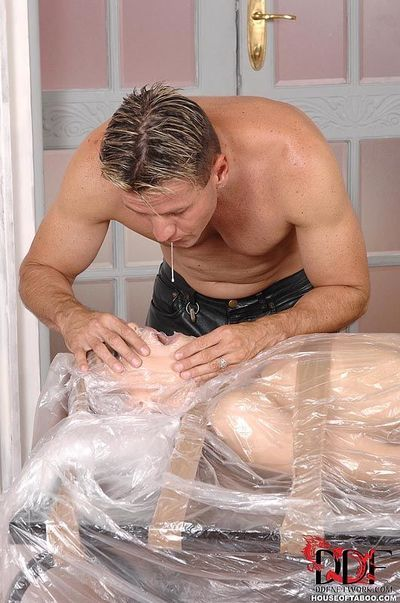 BDSM fetish model Leyla Black wrapped in plastic before hardcore anal