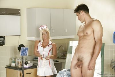 Naughty nurse Crista Moore gets banged hardcore and facialized