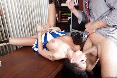 Brunette schoolgirl Raven Bay fucking in a cheerleader uniform