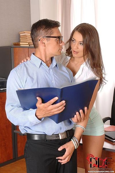 European office worker Savannah Secret taking cumshot in mouth after bj
