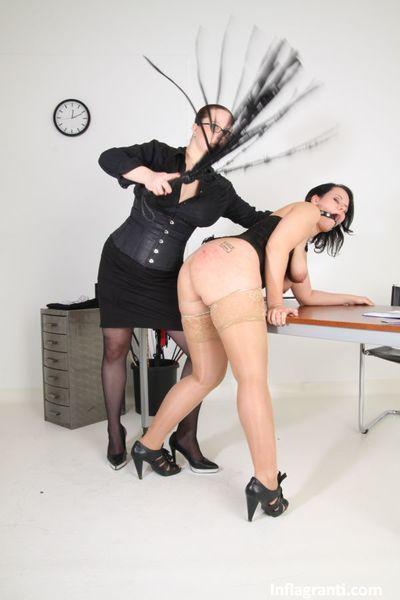 Euro lesbian women Lady Alexa & Sarah Leony fisting in lezdom office sex