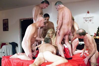 Christmas party turns wild for blonde Nesty once getting old men to fuck her