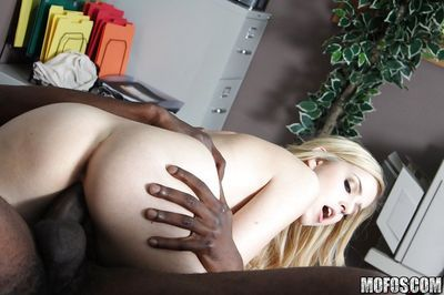 Abigale Johnson gets her mouth and pussy stretched by a big black cock - part 2