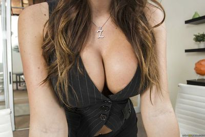 Big tits brunette milf Destiny Dixon dose footjob right in her office