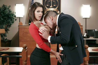 Chesty secretary Peta Jensen having huge fun bags played with by officer