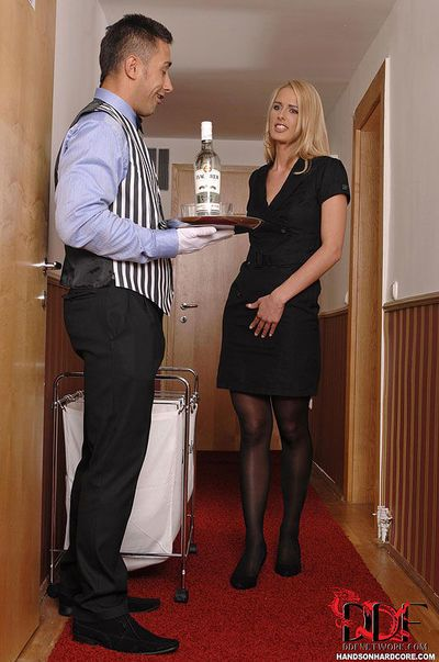 Euro maid and waiter seduce blonde chick for pussy licking and blowjob