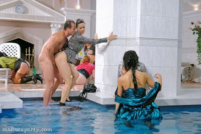Lecherous MILFs in nylon stockings are into hardcore CFNM pool party - part 2