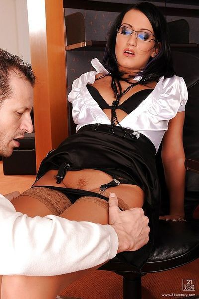 Sexy secretary in glasses and stockings Carmen Black pleasuring a dick