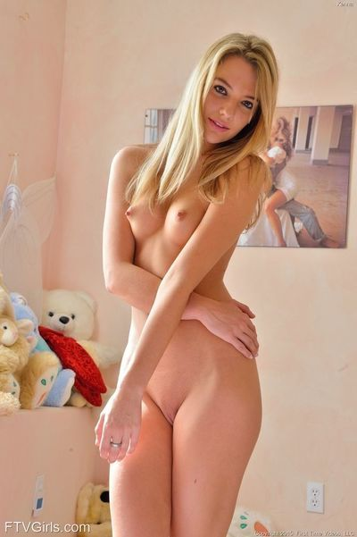 Young blonde slips off pink lingerie to delve fingers into wide open cunt - part 2