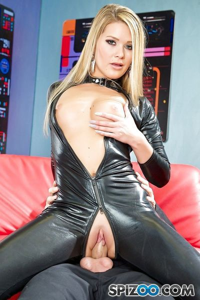 Sexy Abby Cross in latex and heels sucking big cock & fucking doggystyle - part 2