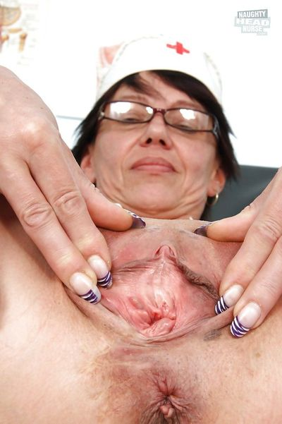 Bad Granny Nurse Strips off her Panties to Toy with her Dripping Pussy