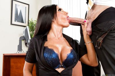 Glamorous sweetie Elicia Solis stays on her knees with dick inside