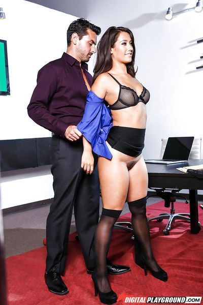 Busty brunette in stockings taking hardcore banging in office for creampie