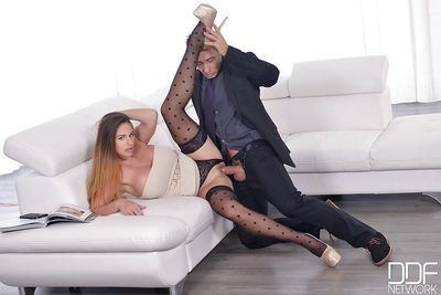 Blonde Euro wife Cathy Heaven pulling panties aside to masturbate for hubby