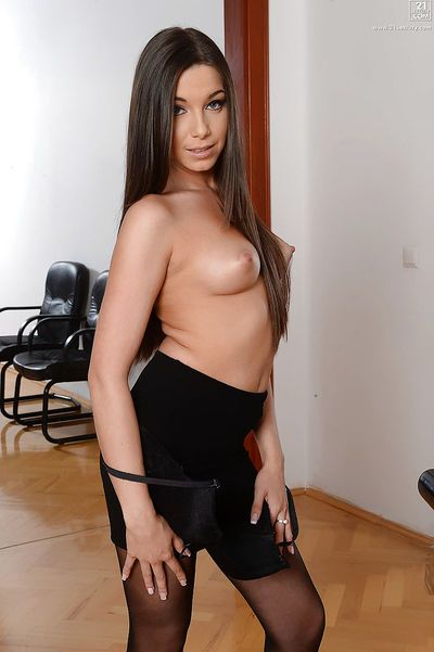 Gorgeous Euro secretary Diana Dolce posing nude in black stockings