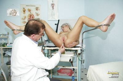 Hot slut Kristina Rud is having her pussy checked in close up - part 2