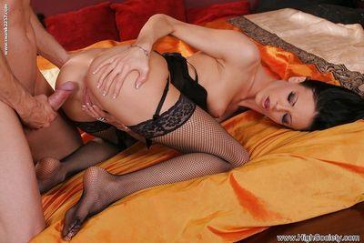 Thick long cock penetrates brunette Aliz Purple and cum glazes her ass - part 2