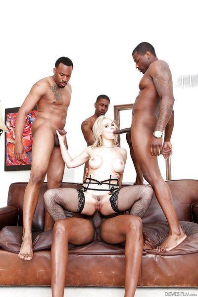 Sexy Sarah Vandella gets BBC double penetration in interracial groupsex