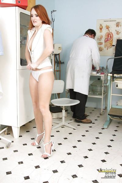 Kind Denisa Heaven undresses and obeys to every doctor\