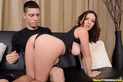 Big tits Shae Summers has her shaved pussy fucked hard by her man