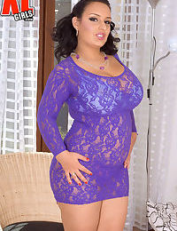 Brunette BBW Anna Carlene frees her knockers from see thru dress and bra