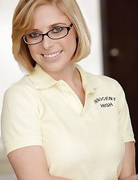 Sweet schoolgirl Penny Pax is posing in her sexy glasses
