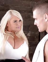 Blonde BBW Samantha Sanders receiving hardcore fuck in nylons