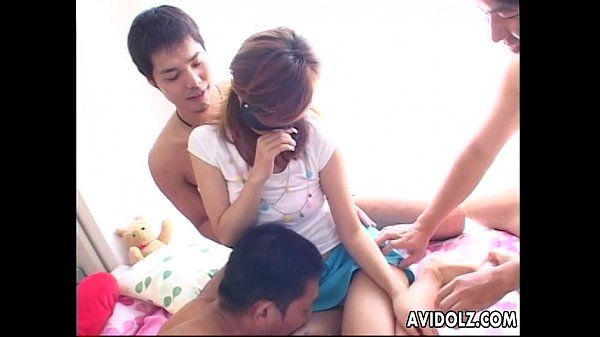 Asian honey groped up and hadled by the fellas