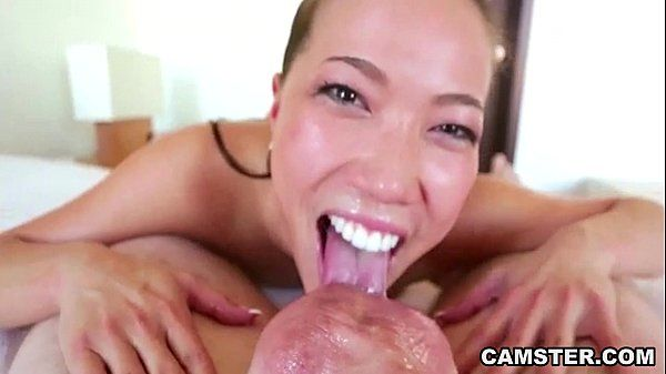POV Asian deep throats big white cock and swallows his cum HD