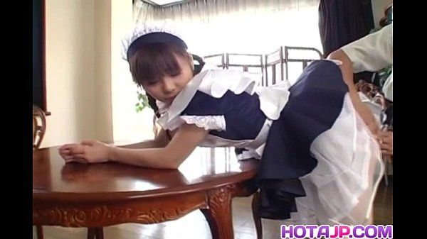 Pretty Asian maid Natsumi exposes hot pussy for fingering