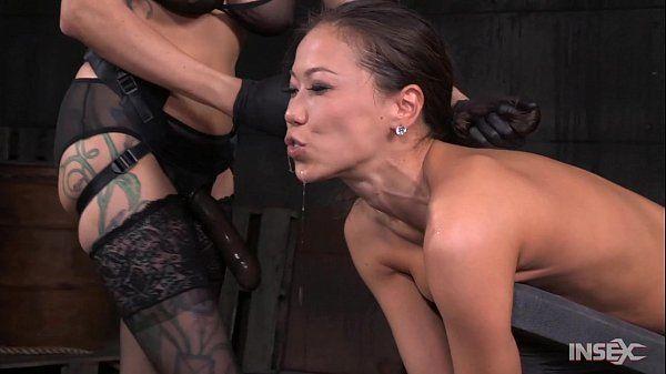 Slender Asian slut fucked hard by lezdom strap on HD