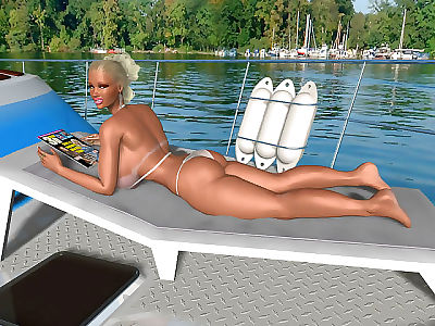 Blonde 3d babe with huge natural boobs sunbathes on sea yacht - part 291