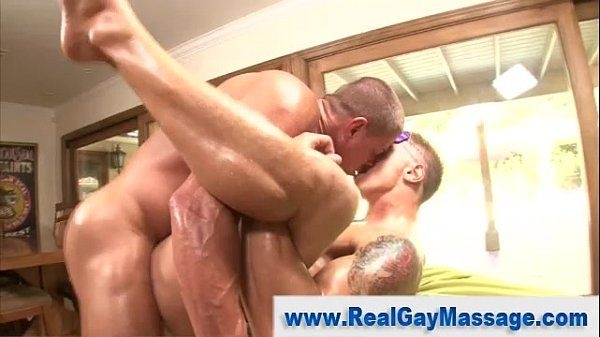 Straight guy gay masseuse deep ass fuck double cumshot