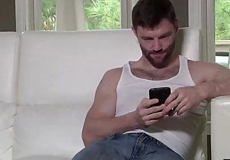 Hairy stepdad Dennis West takes his stepson huge cock deep in his hole