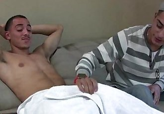 Hot straight latino guy with huge uncut cock fucks cute little bottom.