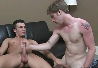 Straight guy tugging on a hard cock for some money