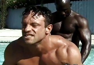 Interracial poolside gay anal fucking