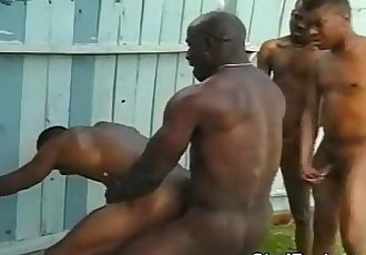 Ebony guys having wild gay foursome