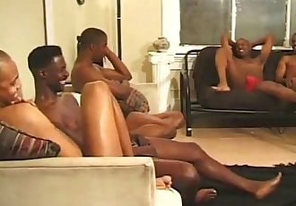 Horny black studs have hot group sex