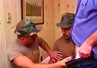 Hot men in uniform fucking in camp