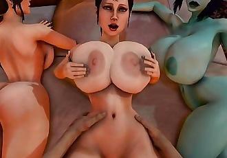 Trishka Gets fucked while Lara Croft and Soria watch 3D SFM