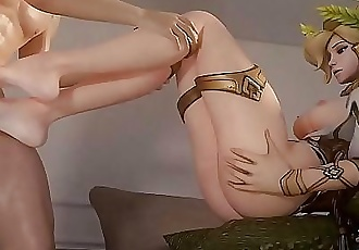 Mercy gives a nice footjob 2 min 720p