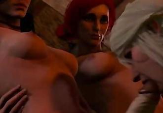 Redhead futa in lesbian orgy, 3d futanari porngame