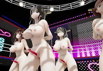 MMD SEX KanColle Kongou Sisters On Stage Titty Shake And Clit Growth