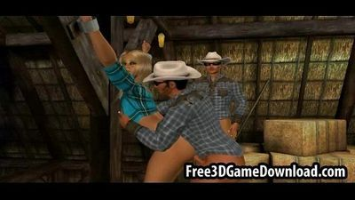 Horny 3d cartoon cowgirl takes on two studs at the barn - 5 min