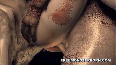 Monster dudes gangbang 3d slut - 5 min HD
