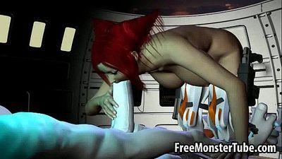 Hot 3D redhead babe sucks and fucks a horny alien - 3 min