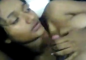 Indian slutty girl does a horny threesome - 4 min