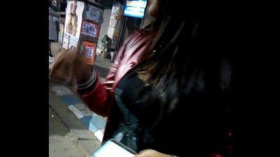 Kolkata new alipore girl showing her big boobs cleavage in Street - 1 min 0 sec