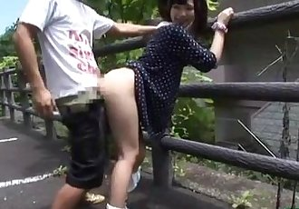 Asian Girl Fucked While Bending To The Fence Outdoor - 9 min
